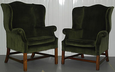 Pair Of His And Hers Georgian H Frame Wingback Armchairs Green Velvet Upholstery