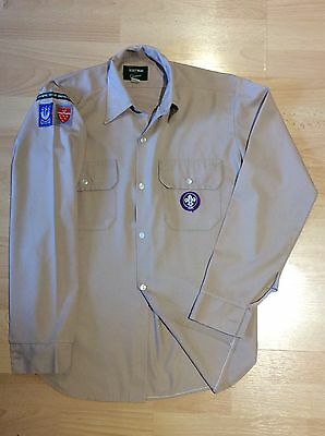 """UK Scouts Youth Long Sleeve 14.5"""" Collar with original badges - mint condition"""