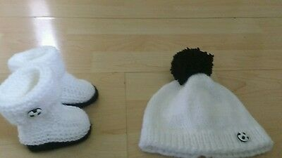 Hand knitted baby hat and bootees 0 - 3 months white and black