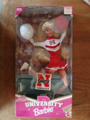 NEW!  NIB!  UNIVERSITY BARBIE blonde CHEERLEADER NEBRASKA Corn HUSKERS 1996