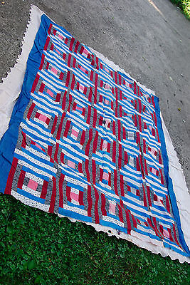 Antique quilt top hand stitched cotton