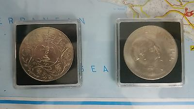British Crowns 1965 1977 Commemorative coins lot of 2.