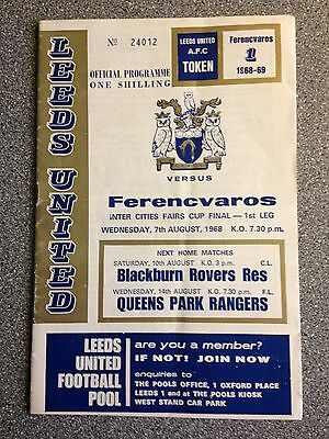Leeds United vs. Ferencvaros programme. Fairs Cup Final 1st Leg 1968.