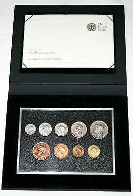 BRITISH COINS: Cased King George VI 1950 Proof Coin Collection Set (9)