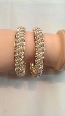 Pearl Stone Bracelet Indian Traditional Chunky Bangles Kada Bollywood Jewellery