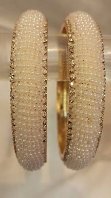 New Pearl Indian Traditional Ethnic Chunky Bangles Kada Bollywood Jewellery 2Pcs