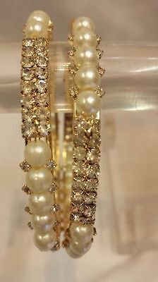 New Ethnic Indian Traditional Pearl Stone Bangles Kada Bollywood Jewellery 2 Pcs