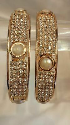 Ethnic Indian Traditional Pearl Bangles Kada Wedding Bollywood Jewellery - 2 Pcs