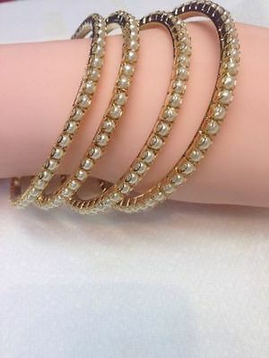 NEW PEARL STONE BANGLES KADA INDIAN TRADITIONAL BOLLYWOOD JEWELLERY Golden 4 PCS