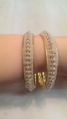 Pearl Stone Indian Traditional Ethnic Chunky Bangles Kada Bollywood Jewellery