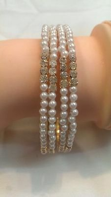 Indian Traditional Pearl Stone Bangles Ethnic Kada Bollywood Jewellery - 4 Pcs