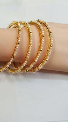 NEW INDIAN TRADITIONAL PEARL STONE BANGLES KADA BOLLYWOOD JEWELLERY Golden 4 PCS