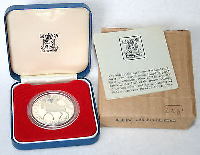 1977 Queen Elizabeth II Silver Jubilee Silver Proof Crown Coin; Cased with CoA