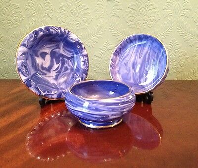 Vintage Sutherland Bone China - 3 Rare Blue Agate Marbled Pin Dishes VGC