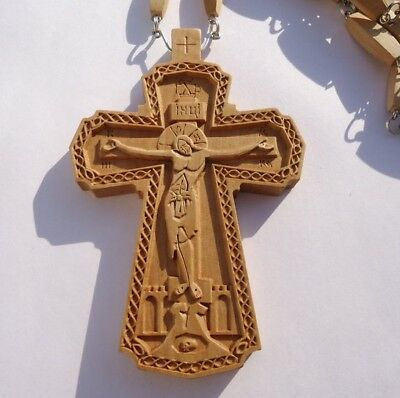 NEW!!! Exclusive Pectoral Cross Award Wooden Hand Carved Crucifix + Chain #88b