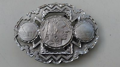 Large Usa Red Indian & Buffalo Western Mens Chrome Metal Belt Buckle New Vintage