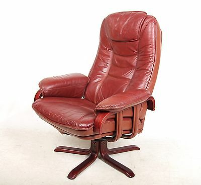 Leather Swivel Chair Danish Tan Burgundy Recliner Chair Lounge Armchair
