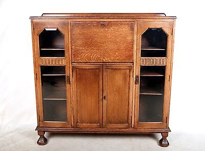 Vintage Bureau Bookcase Oak Glazed Writing Desk Chest 1930s Arts & Crafts Antiqu