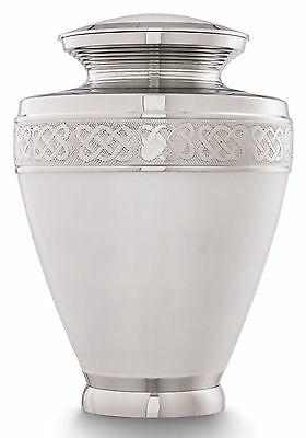 Funeral Cremation Urns for Ashes, Memorial Urn Large Milano White /Silver