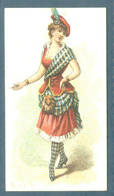 N186 Kimball tobacco cigarette card Dancing Women Scotch Ex+ 1889 glamour