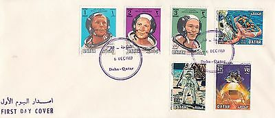 P1806 Qatar December 1969 First Day Cover; Apollo 11 space stamps