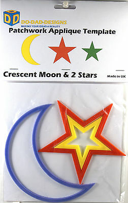"Patchwork Quilting Applique Template ""Moon & 2 Stars"" by DoDadDesigns.com"