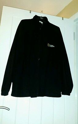 national geographic thin black fleece unisex one size large.zip front.