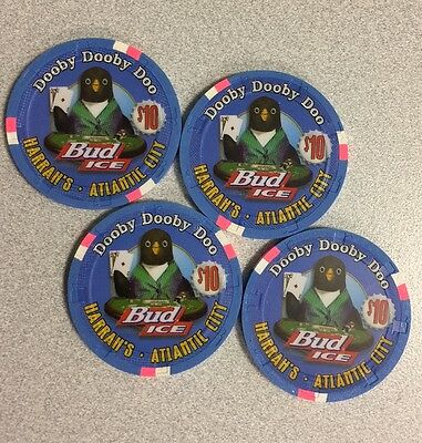 4 Limited Edition $10 Harrah's Bud Ice Casino Chips w/Consecutive Numbers