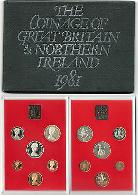 BRITISH COINS: 1981 Great Britain & Northern Ireland Proof Coin Collection Set