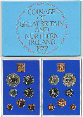 BRITISH COINS: 1977 Great Britain & NI Proof Coin Set with Silver Jubilee Crown