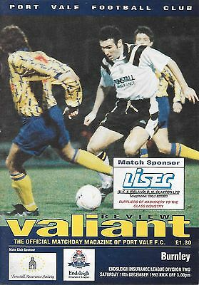 Port Vale v Burnley - 18/12/1993