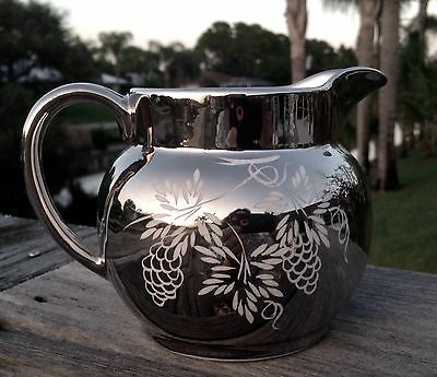 """Vintage WADE Sklver Lister Ware Hand Painted Creamer Gift Quality 5-3/4""""w 4""""h"""