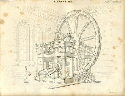 Antique print STEAM ENGINE in Victorian Building - copper plate engraving - 1842