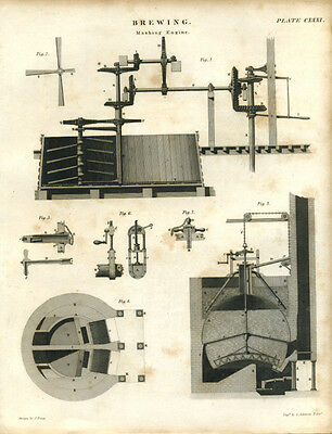 Antique print BREWING - Mashing Engine brewery - copper plate engraving - 1842