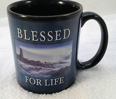 Blessed For Life Christian CoffeeMug Bible Verse Multicolor Lighthouse Ocean