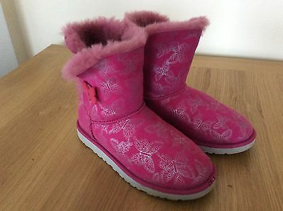 Genuine Girls Ladies Ugg Butterfly Pink Boots Uk Size 4