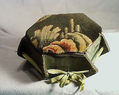 Antique Victorian Hand Made Velvet, Silk Lined, Ribbon Tied LadiesTrinket Box