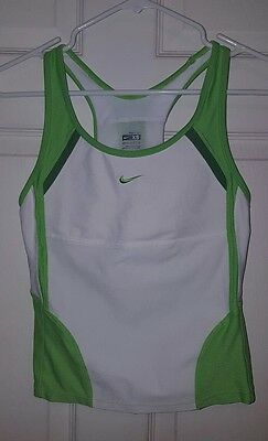Nike Fit Dry women's size XS green white active workout tank top built in bra