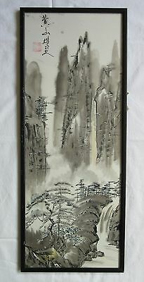Vertical Oriental Brush Painting Ink Wash on Silk