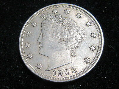 USA United States 5 Cents Nickel 1903 Lustrous Very High Grade As Pictures.