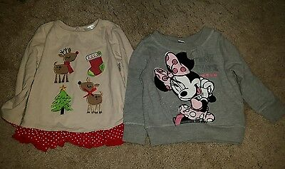 Baby girl Christmas Reindeer top and Minnie Mouse top size 9-12mths