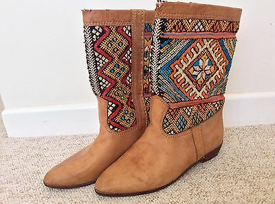 Fab Tapestry Leather Boho Vintage Tan Cowboy Boots Size 43