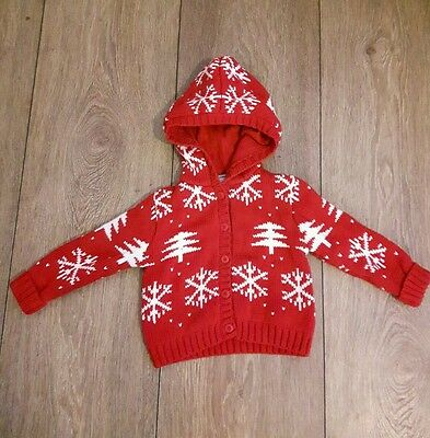 Mamas And Papas Thick Christmas Hooded Cardigan  Age 9-12  Months