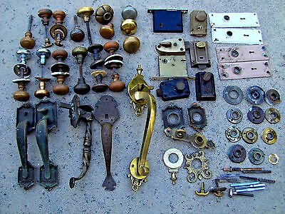 Lot of   Antique Brass Door Handles, Knobs,Plates ,etc  ...
