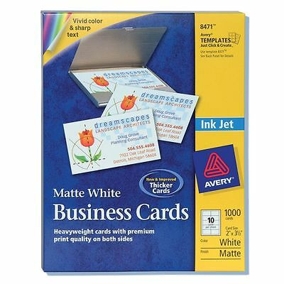 Avery Business Cards for Inkjet Printers 8471, White, Matte, Box of 1000