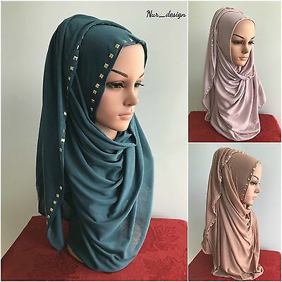 MAXI JERSEY with RIVET Cotton& Polyester Stretch Soft Scarf / Wrap 180 x 80 cm