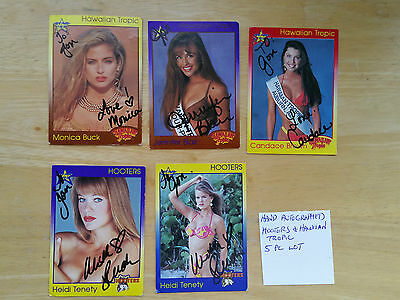 5 Card Lot Of Hooters And Hawiian Tropic  Trading Cards Hand Signed