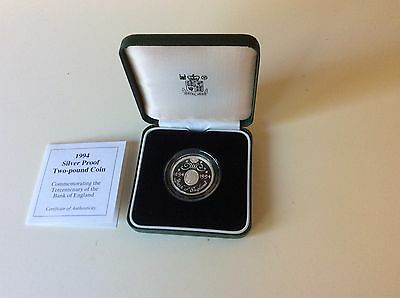 1994 Silver Proof £2 Coin Tercentenary of the Bank of England