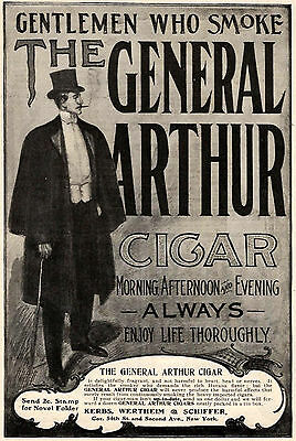 1901 Ad The General Arthur Cigar Smoke Dapper Man Evening Wear Top Hat Cane