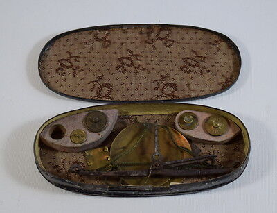 Antique Metal Cased Scales And Weights Pocket Sized.